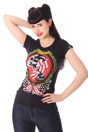 Gypsy Girl Pin Up Girlie oldschool Tattoo T-Shirt v. Liquor Brand