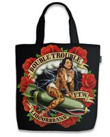 Double Trouble Pin Up Canvas Tote Bag Trage Tasche v. Liquor Brand 001