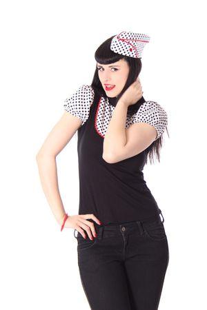 Kayleen Pin Up retro Polka Dots Puffärmel Blusen Shirt v. SugarShock – Bild 5