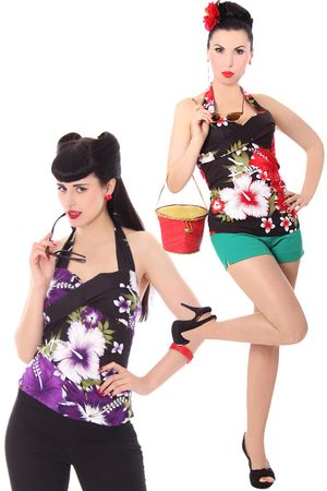 Leilani Hawaii Hibiskus Flower 50er retro Neckholder Top v. SugarShock