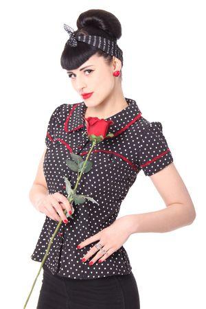 Coleen 50er retro Polka Dots Puffärmel Bluse m. Rückenausschnitt v. SugarShock – Bild 1