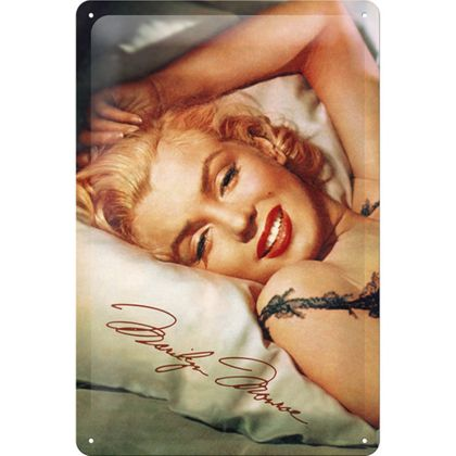 Marilyn Monroe - Bed 50er retro Blechschild