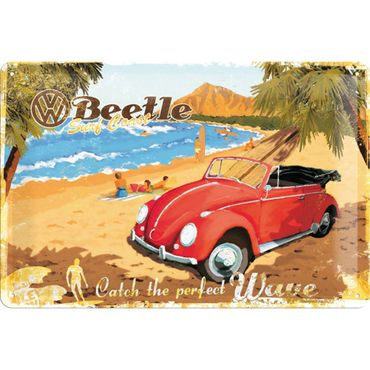 VW Beetle - Ready for the Beach 50er retro Blechschild