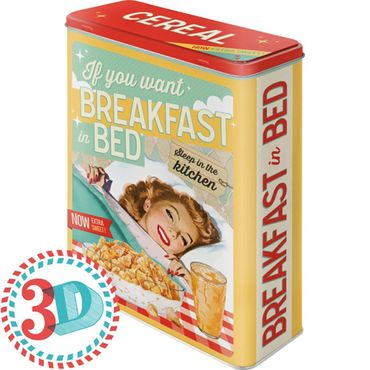 Breakfast in Bed 50s retro Blechdose Vorratsdose