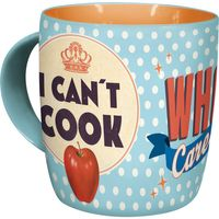 Can´t Cook, Who Cares? 50s retro Polka Dots Tasse 001