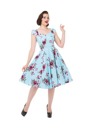 50er Jahre retro Blue Floral Royal Ballet Petticoat Swing Kleid v. Hearts & Roses