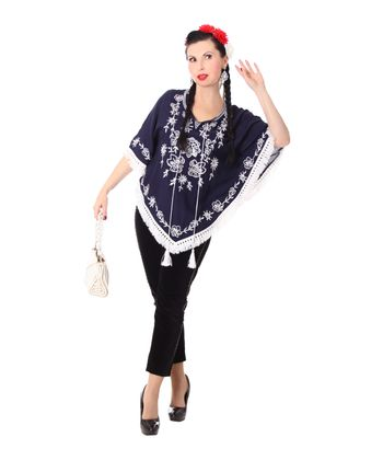 bestickter Fransen retro Poncho Mexican style Umhang – Bild 3
