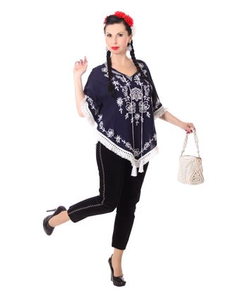 bestickter Fransen retro Poncho Mexican style Umhang – Bild 4