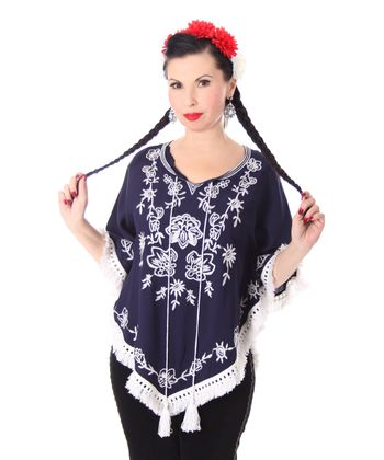 bestickter Fransen retro Poncho Mexican style Umhang – Bild 5
