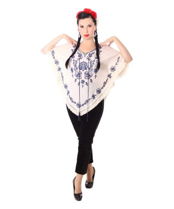 bestickter Fransen retro Poncho Mexican style Umhang – Bild 10