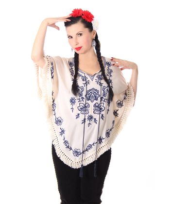 bestickter Fransen retro Poncho Mexican style Umhang – Bild 8