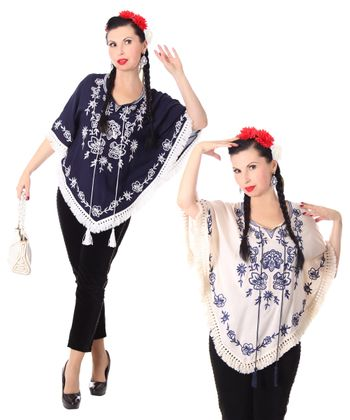 bestickter Fransen retro Poncho Mexican style Umhang – Bild 1