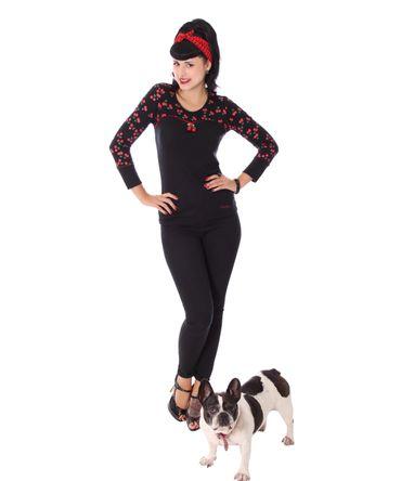 Anni retro Cherry Kirschen Rockabilly Longsleeve Shirt v. SugarShock – Bild 4