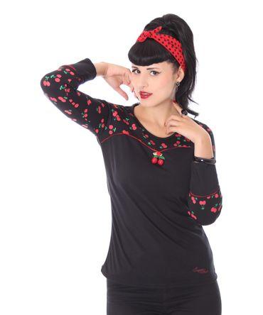 Anni retro Cherry Kirschen Rockabilly Longsleeve Shirt v. SugarShock – Bild 2