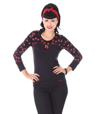 Anni retro Cherry Kirschen Rockabilly Longsleeve Shirt v. SugarShock