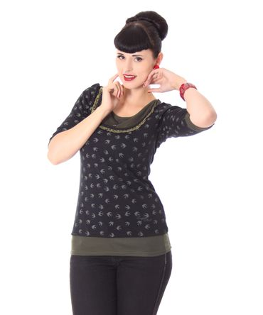 Cameron retro swallow Rockabilly Longsleeve Shirt v. SugarShock – Bild 1