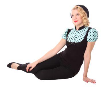 Sankana Pin Up retro Polka Dots Puffärmel Blusen Shirt v. SugarShock – Bild 6