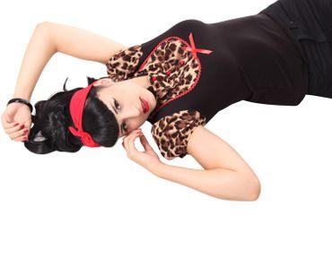 Jeanny Pin Up retro Leoparden Puffärmel Blusen Shirt v. SugarShock – Bild 7