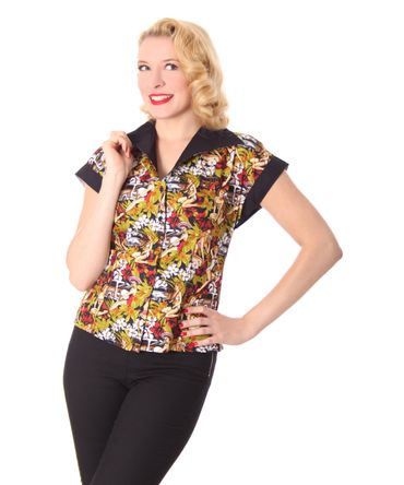 Justine 50er retro Pin Up Hawaii Diner Bluse v. SugarShock