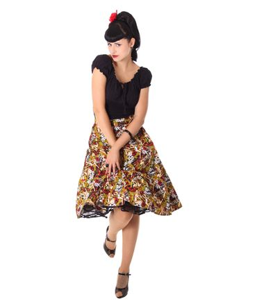 Kanaia Pin Up Hawaii Blüten Tellerrock Petticoat Rock v. SugarShock – Bild 3