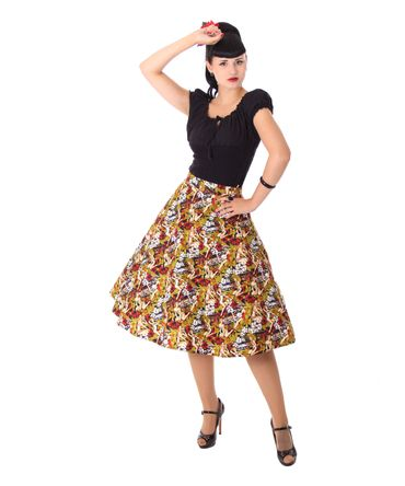 Kanaia Pin Up Hawaii Blüten Tellerrock Petticoat Rock v. SugarShock – Bild 2