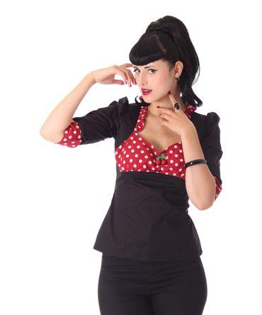 Madita 50er retro Polka Dots 3/4 Arm Bluse v. SugarShock – Bild 3