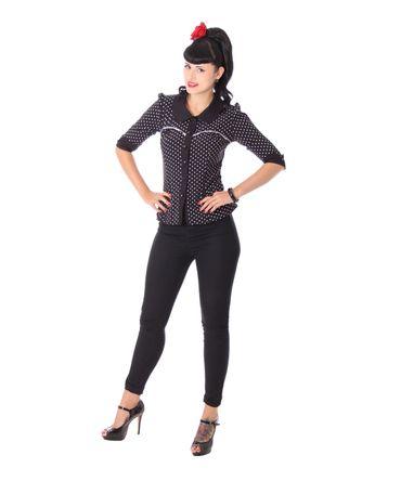 Raquel 50s retro Polka Dots 3/4 Arm Bluse v. SugarShock – Bild 3