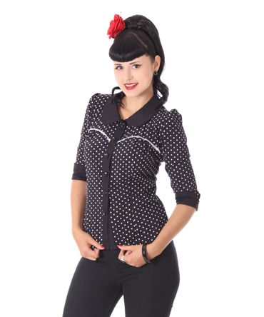 Raquel 50s retro Polka Dots 3/4 Arm Bluse v. SugarShock – Bild 1