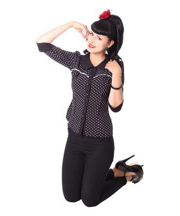 Raquel 50s retro Polka Dots 3/4 Arm Bluse v. SugarShock – Bild 8