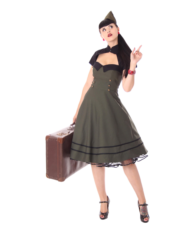 harbor 40er retro military retro swing uniform kleid v. Black Bedroom Furniture Sets. Home Design Ideas