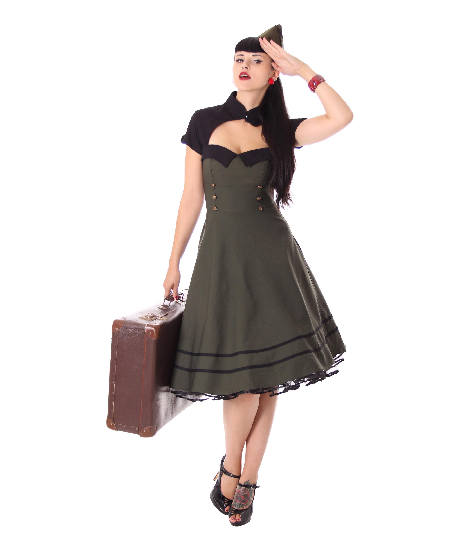 Harbor 18s retro Military retro Swing Uniform dress by SugarShock  Suicide  Glam