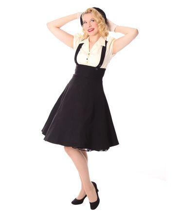 Carlyn 50er retro Swing Hosenträger Suspender Petticoat Blusen Kleid v. SugarShock