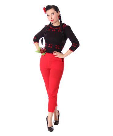50er retro Kelsey Kirschen Cherry Pullover Jumper Strickshirt v. SugarShock – Bild 2