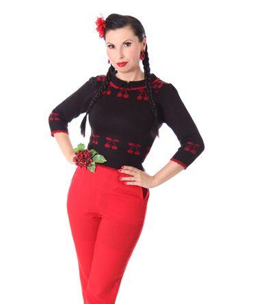 50er retro Kelsey Kirschen Cherry Pullover Jumper Strickshirt v. SugarShock – Bild 4