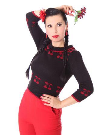 50er retro Kelsey Kirschen Cherry Pullover Jumper Strickshirt v. SugarShock – Bild 13