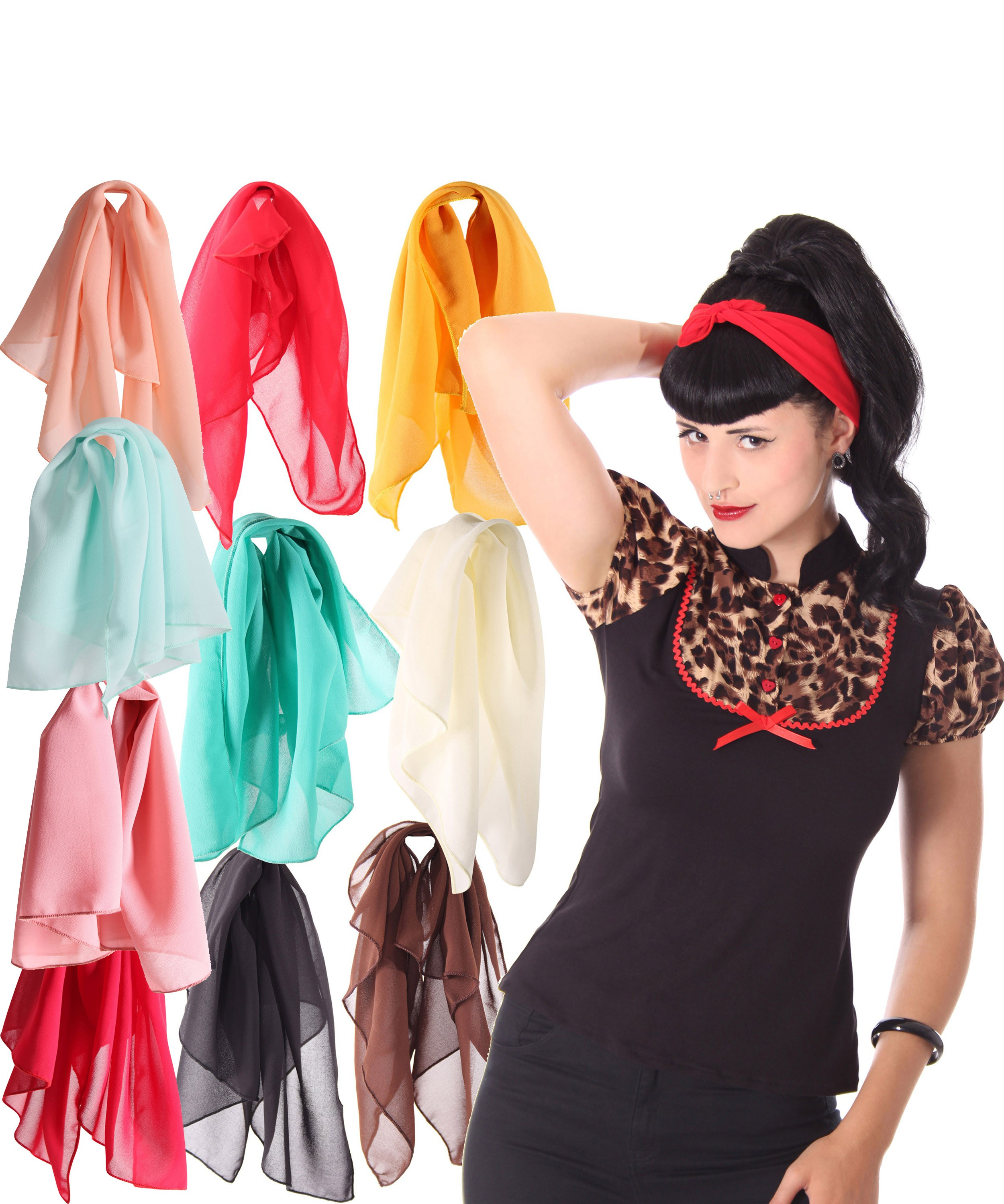 50s Retro Chiffon Haarband Pin Up Rockabilly Hairband Frisuren Haar