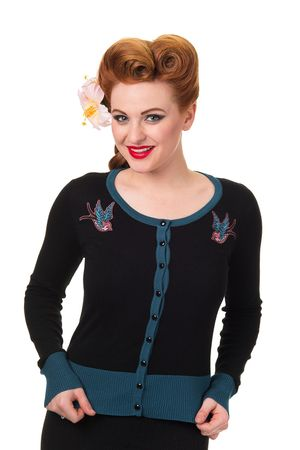 Twisted Schwalben 2-tone Strickweste retro Cardigan v. Banned