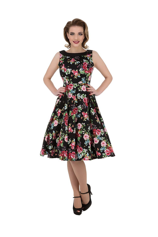 50er jahre vivid rose flower tea dress petticoat swing. Black Bedroom Furniture Sets. Home Design Ideas