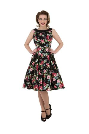50er Jahre Vivid Rose Flower Tea Dress Petticoat Swing Kleid v. Hearts & Roses