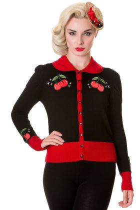 Cherry Strickweste retro Puffärmel Cardigan v. Banned