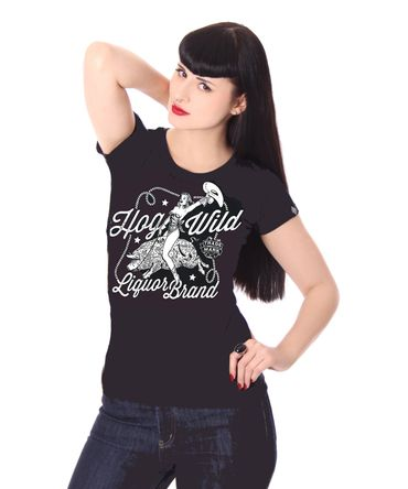 Hog Wild Pin Up Cowgirl Tattoo T-Shirt v. Liquor Brand – Bild 1