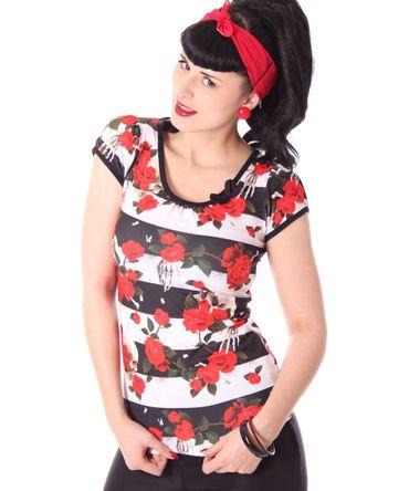 Skulls & Roses Streifen Girl Doll Puffärmel Tattoo T-Shirt v. Liquor Brand – Bild 1