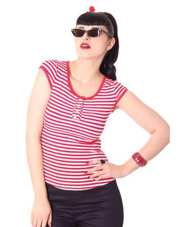 50s retro Bernetta Streifen Sailor T-Shirt v. SugarShock – Bild 8