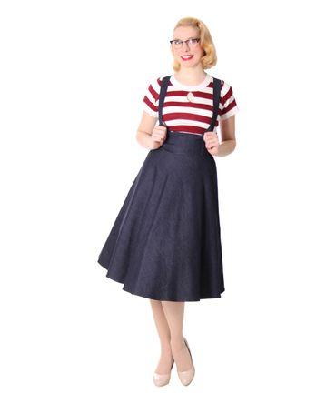 Valentina 50er retro Denim Petticoat Swing Jeans Hosenträger Teller Rock v. SugarShock – Bild 3