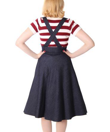 Valentina 50er retro Denim Petticoat Swing Jeans Hosenträger Teller Rock v. SugarShock – Bild 6