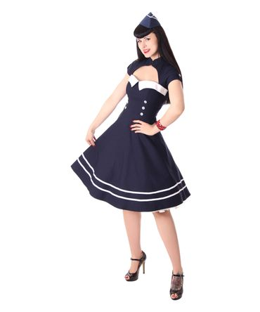 Harbor 40er retro Sailor retro Swing Matrosen Uniform Kleid v. SugarShock