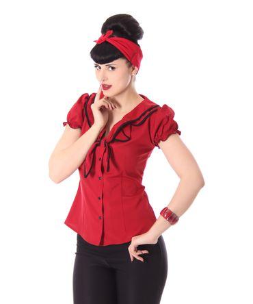 Dollydi 50s Style retro Schluppen Rüschen Kragen Bluse v. SugarShock – Bild 12