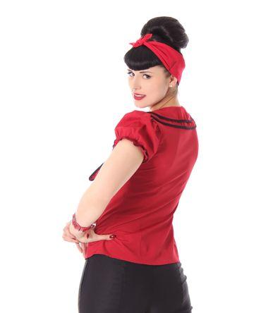 Dollydi 50s Style retro Schluppen Rüschen Kragen Bluse v. SugarShock – Bild 14