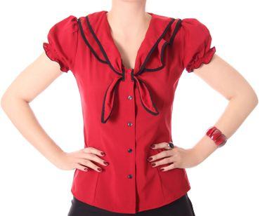 Dollydi 50s Style retro Schluppen Rüschen Kragen Bluse v. SugarShock – Bild 13
