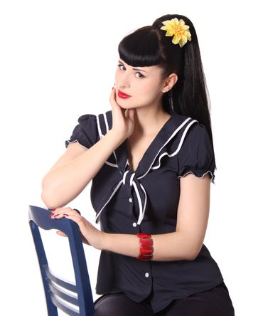 Dollydi 50s Style retro Schluppen Rüschen Kragen Bluse v. SugarShock – Bild 17